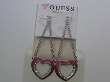 Guess Brand Silver Tone Hot Pink Heart w/Crystals Drop Earrings
