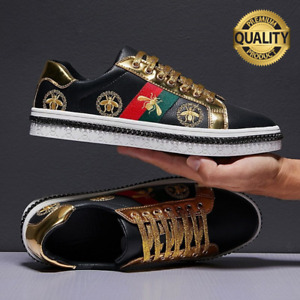 Men's Casual Shoes Black Skate Sneakers Men Leather Golden Luxury Embroidery