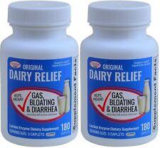 Lactase Enzyme Generic Lactaid Original Strength 180 Caplets Per Bottle  2 PACK