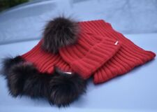 Red Hat and Scarf Set Knitted Wool Blend Fox Fur Pom pom RRP£195