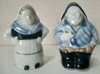 Vintage SALT & PEPPER SET Cruet Ceramic Fisherman & Wife Unusual Collectors