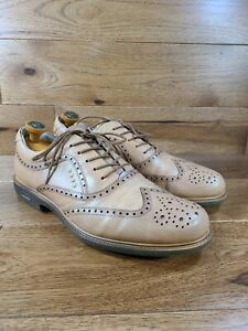 Ecco Men's Brown Leather Wingtip Oxfords Spikeless Golf Shoe Euro 44, US 10/10.5