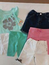 Lot X6 Infant Girls Summer Mixed Lot, Shirt, Shorts & Capris Size 12 Mos.