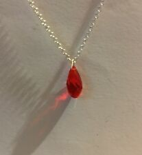 SMALL GLASS RED FACETED BRIOLETTE DROP PENDANT SILVER PLATED CHAIN