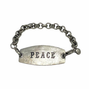 Lenny And Eva Engraved Peace Antiqued Silver Tone Chain Link Bracelet