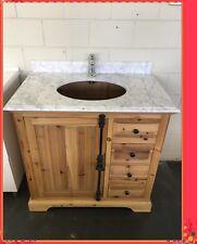 Rustic Wooden Bathroom Vanity Frances 900 Wood With Marble or Granite Top