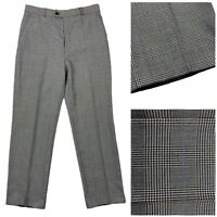 Men's Black White Grey And Blue Houndstooth Check Vintage Trousers Very Smart!