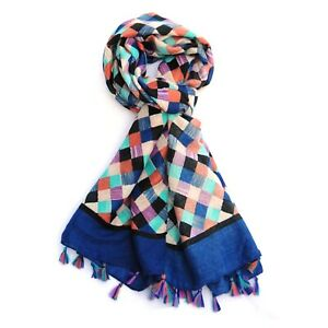 Harlequin Print Multi Colour Womens Fashion Scarf with Tassels (Blue)