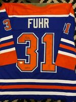 Grant Fuhr Autographed HOF Inscribed Edmonton Oilers Blue Hockey Jersey JSA COA