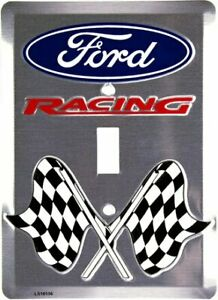 Ford Racing Light Switch Cover with crossed checkered flags