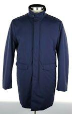 NWT $1395 CANALI 1934 Solid Navy Rain Protection Poly-fill Coat Jacket 46 2XL