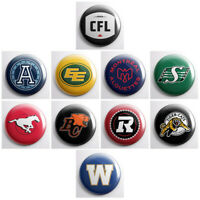 "CFL - CANADIAN FOOTBALL LEAGUE sports team pinback buttons - 1"" pins badges"