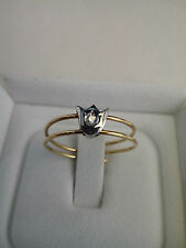 Anello donna/bambina  Oro giallo e bianco 18 kt, diamantino Mis.16 RING Gold