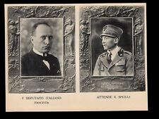 Italy Fascist Benito Mussolini Large Postcard Souvenir Unused 1921 Waits&Hopes7p