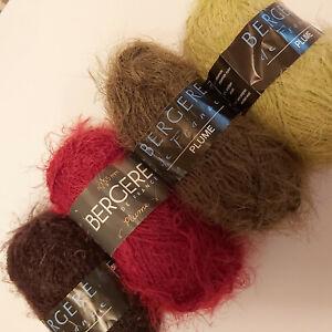 Knitting Yarn ~ Bergere Plume a super soft brushed yarn - chunky in 50g balls