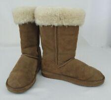 Womens BEARPAW Boots Marissa Brown Suede Sheepskin Wool Lining US 7 Midcalf