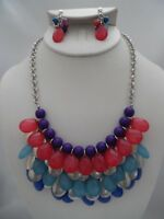 Clip on silver and purple beaded multi colored teardrop necklace & earring set