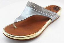 FitFlop T-Strap Sandals Silver Leather Women Shoes Size 36 Medium (B, M)