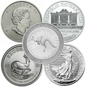 Lot of 5 - 2021 1 oz Silver Coins From Around The World Brilliant Unc - IN STOCK