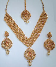 Indian Bollywood Bridal Gold Polki Jewellery Necklace, Earring and Tikka
