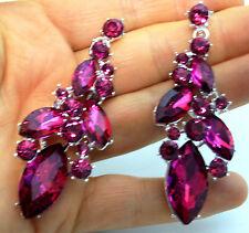 "Chandelier Earrings Rhinestone Bridal Prom Pageant Austrian Crystal 2.8"" Fuchsia"