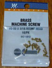 "Walthers #947-1012 / 0-80 Brass Round Head Machine Screws -- 3/16 x .060"""