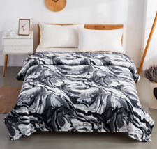 NWT~Plush Twin Bed Blanket 90x66 Black Marble Pattern Luxurious Warm Easy Care
