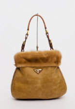 PRADA Montone Visone Brown Tanned Mink Fur Shearling Croc Leather Hobo Bag Purse