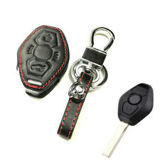 3 Button Black Remote Key Fob Bag Holder PU Leather Cover Case Fit BMW M3 M5 X3