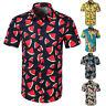 Men Casual Floral Printed Button Down Short Sleeve T-Shirt Hawaiian Tops Blouse