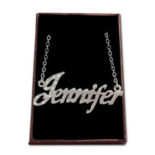 White Gold Plated Name Necklace - JENNIFER - Gift Idea For Her - Birthday Custom