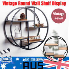 4 Level Metal Round Wall Shelf Floating Shelves Display Unit Storage Rack Decor