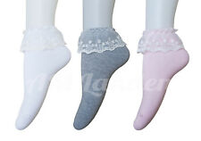 AM Landen Super Cute Princess Lace Ruffle Frilly Ankle Socks White Gray Pink