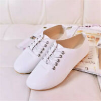 Womens Ladies Summer Casual Leather Loafers Pumps Slip On Flat Lace Up Shoes ;