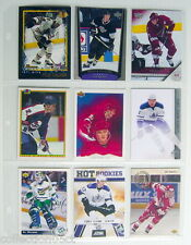 1990-2011'S LOT OF 9 HOCKEY CARDS + 1 PLASTIC SHEET FOR COLLECTORS ALBUM