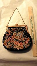 30s-50s Black Tapestry Floral Purse w/ Change Purse  Martha Klein Orig