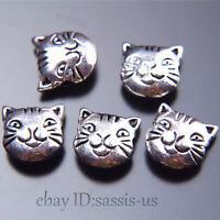 10pcs 11mm charm Tibetan Silver Cat spacer bead DIY Jewelry Making Bracelet 7514