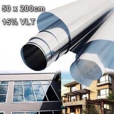 15% Reflective Silver Insulation Sticker Window Film 50cm x 2m One Way Mirror US