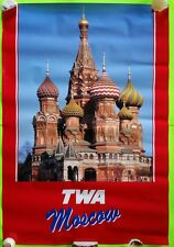TWA Moscow Travel Advertisement poster Vintage 26x38