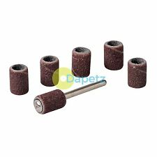 "C7Pc Rotary Tool Drum Sanding Set - 6.35mm (1/4"") Aluminum Oxide Abrasive Drums"