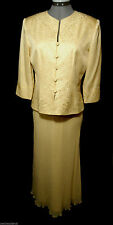 PAPELL 100% Silk Skirt SuitSet 8P Dusty Peach Pearled floral Maxi&Jacket Wedding
