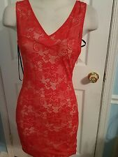 bebe red corset back lace dress s #549