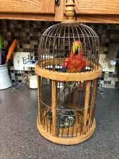 18� Vintage Wood & Metal Bird Cage With Large Parrot Resin