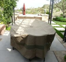 """Premium Tight Weave 120""""L x 86""""W x 38""""H Oval Table and Chairs Set Cover Taupe"""