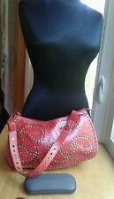 New Nordstroms Purse Shoulder Hobo Red Leather Bradded Stitched