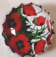 Estilo Vintage Vidrio Amapola Roja Coleccionistas Escocés Broche hecho a mano