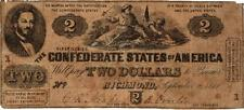 "Rare 1861 $2 Confederate States of America ""South Striking Down Union"" T38-286"