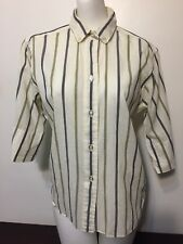 Vintage 50s Miss Arrow Shirt 16 Cotton White Striped Blue Green Rockabilly 1950s