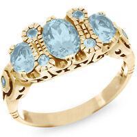 Natural Blue Topaz 9K 9ct 375 Solid Gold Trilogy Design Ring- Bravo Jewellery