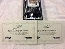 Aric Almirola & Tony Stewart 2018 Ford Smithfield Autographed Diecast & Cards